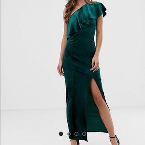 🆕 NWT Flounce Green Velvet one shoulder Gown sz 8